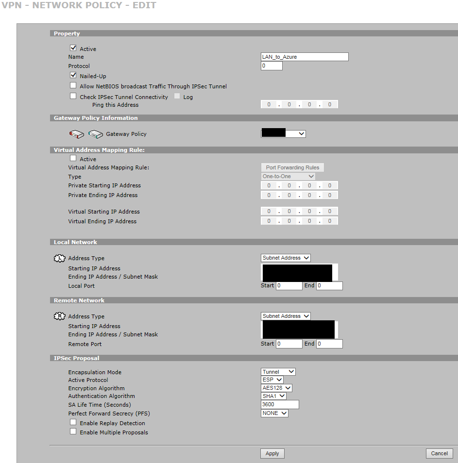 Azure VPN med Zywall 5 - 2