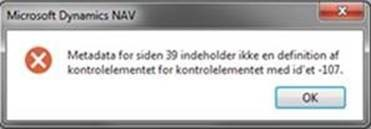 Metaadata for siden 39 indeholder ikke en definition af kontrolelementet for kontrolelementet med id'et -107