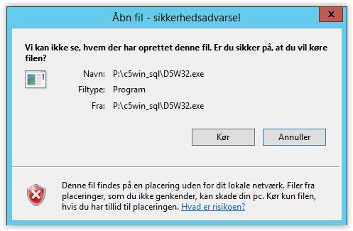 Vi kan ikke se, hvem der har oprettet denne fil. Er du sikker på, at du vil køre filen? Denne fil findes på en placering uden for dit lokale netværk. Filer fra placeringer, som du ikke genkender, kan skade din pc. Kør kun filen, hvis du har tillid til placeringen.