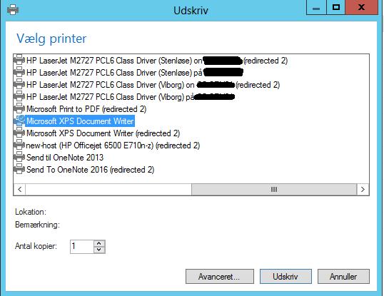 Dynamics NAVs printervalg