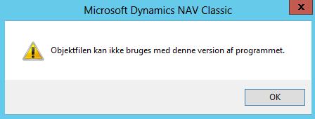 Objektfilen kan ikke bruges med denne version af programmet
